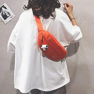 Fashion Single-Shoulder Bags Fashion Canvas Single Shoulder Bag Waist Chest Bag Messenger Bag with Panda Doll Decoration (Color : Orange, Size : OneSize)