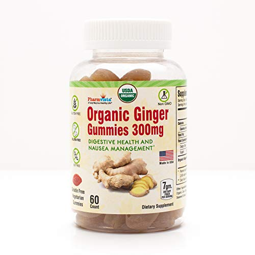 Organic Ginger Gummies 300mg 60 Count for Nausea Management and Digestive Health