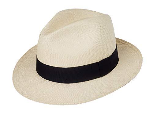 Jack Carrera Puerto Cayo Panama Sombrero para mujer/hombre – Sombrero de fibra 100 % natural – Ancho de ala aprox. 6 cm – Hecho a mano en Ecuador – Calidad 3 natural M