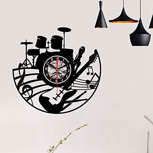yuandp Gitaar muurkunst wandklok muziekinstrument huis interieur wanddecoratie vinyl plaat wandklok rok N rol muzikaal geschenk