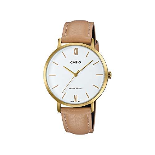 Casio LTP-VT01GL-7B Reloj analógico minimalista para mujer, tono dorado, correa de piel marrón, esfera blanca, 3 manecillas
