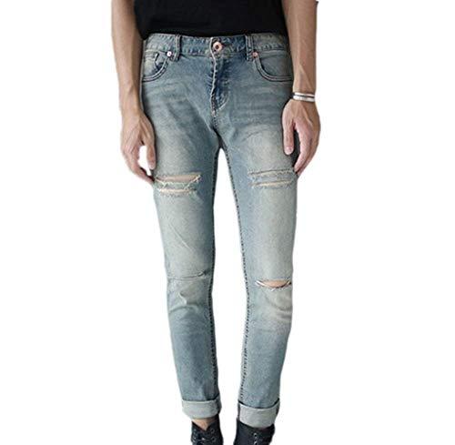 HaiDean jeansbroek herenmode casual daily stijl model Star gat modern nonchalant gestreken skinny stretch jeans vrijetijdsbroek