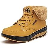SAGUARO® Invierno Mujer Botas de Nieve Cuero Calientes Fur Botines Plataforma Bota Boots Ocasional Impermeable Anti Deslizante Zapatos, Amarillo 39