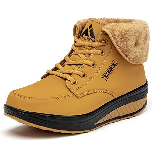 SAGUARO® Invierno Mujer Botas de Nieve Cuero Calientes Fur Botines Plataforma Bota Boots Ocasional Impermeable Anti Deslizante Zapatos (40 EU, Amarillo)