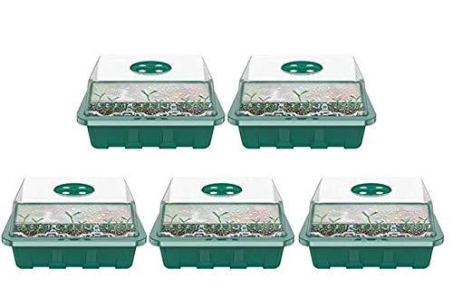 5PCS Bac à Semis Transparente en Plastique,12 Trous Plateau de Semis Hydratant et Préservant Chaleur, Mini Serre pour Semis avec Couvercle pour Emarrage et Croissance Semence (Vert)