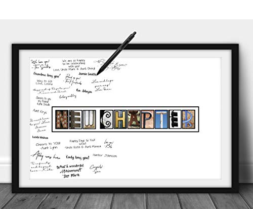 Katie Doodle Going Away Gift - Creative Goodbye Card or Guest Book Alternative - Great Moving Party Supplies Decorations for Coworker Men Women Adults - 11x17 New Chapter Wall Art Poster [Unframed]