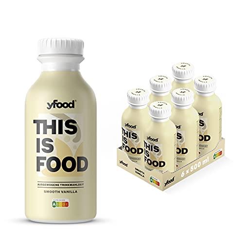 yfood Vanille | Leckere Trinkmahlzeit für unterwegs | THIS IS FOOD Drink | 34g Protein, 26 Vitamine und Mineralstoffe (6 x 500ml)