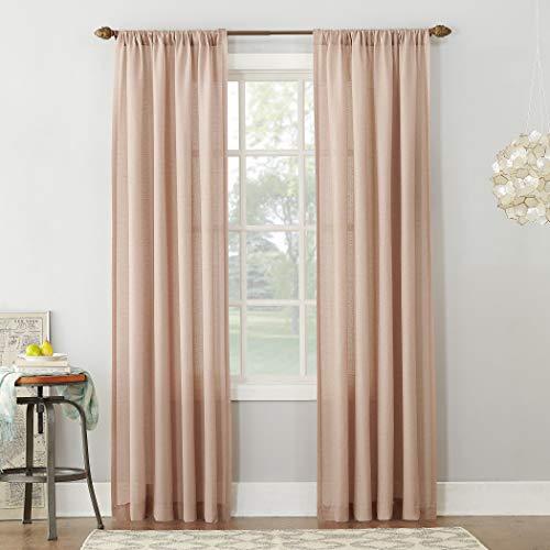 "No. 918 Amalfi Linen Blend Textured Sheer Rod Pocket Curtain Panel, 54"" x 84"", Blush Pink"