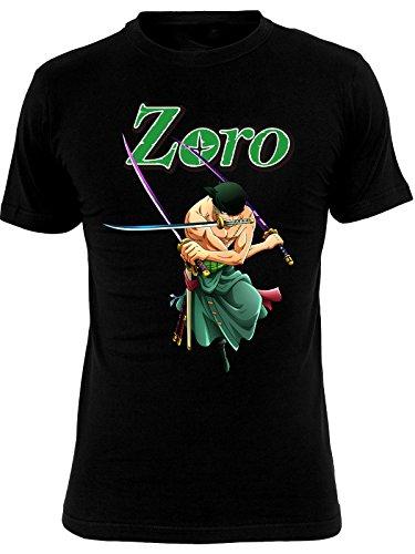 Una Pieza Negro de algodón para Hombre de la Camiseta de Roronoa Zoro Animado - S