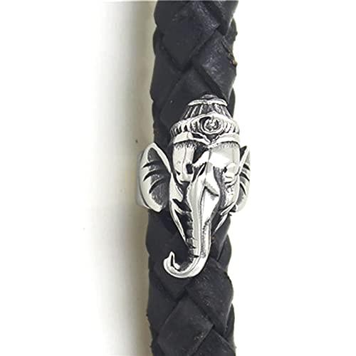 Feinny 50 Piezas - Hombres 316L Acero Inoxidable Elefante Barba Cuentas, 8mm Hole Medieval Hair Beads Dreadlock Braiding Hair Tube Beads Ring, DIY Pulseras Accesorios de joyería