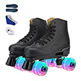 Roller Skates for Women Men, Four-Wheel Shiny Roller Skate Shoes for Adults and Kids,Indoor Outdoor Roller Skates with Shoes Bag and Spare Shoe Wheel (US 10=10.43inch,Black)