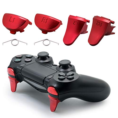 TOMSIN Replacement Triggers for PS4 Slim/ PS4 Pro Controller, Aluminum Metal L1 R1 L2 R2 Trigger Buttons for PS4 Controller Gen 2 (Red)