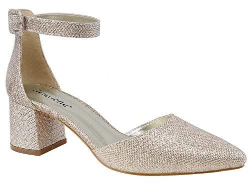 Greatonu Zapatos de Tacón Ancho Suede Modo Clásico con Hebillas Gold para Mujer Tamaño 37 EU