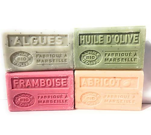 Label Provence -lot de 4 savons bio à l'huile d'olive:huile d'olive-framboise-abricot-algues-4x125g- fabriqués à Marseille