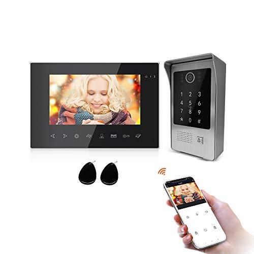 JeaTone 7 Inch Videoportero Wifi 4 Hilos (7 Inch Videoportero, Pantalla táctil negra de 7 pulgadas + cámara HD 960P)