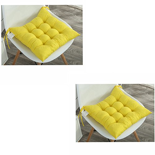 Pack of 2 Padded Cushion Chair Seat Pads With Ties - Quilted Design Seat Pad Dining Room Garden Kitchen Office Chair Cushions (yellow)