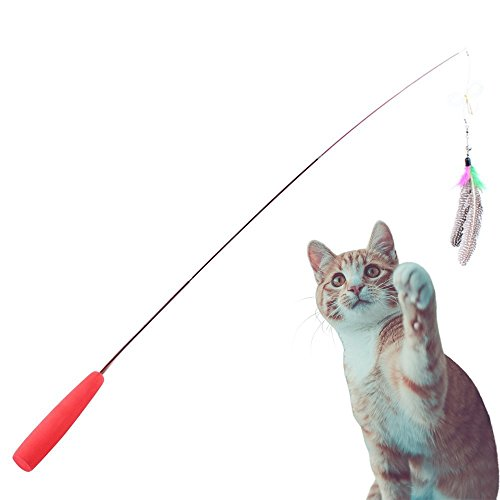 Interactive and Retractable Wand That Comes with 3 Handmade Teaser Da Bird Feathers – Toys for Cats and Kittens