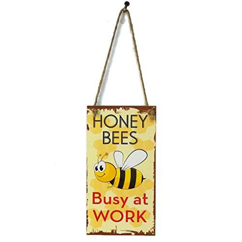 Meisijia Frühling Biene beschäftigt bei der Arbeit Brief hölzerne Plaque Wand Dekor hängende Anhänger Schild für Garten Plank Dekoration