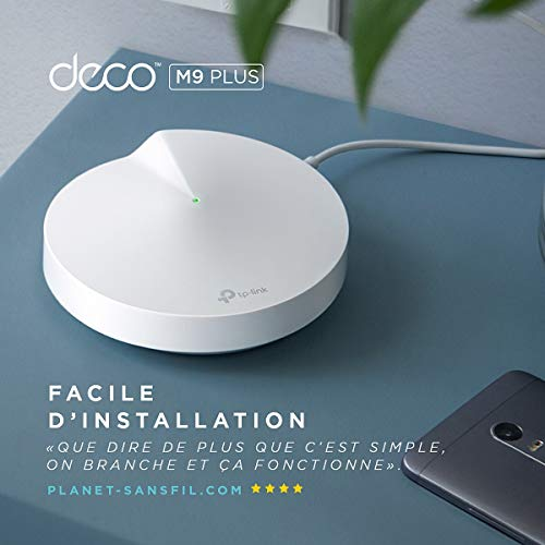 TP-Link Deco WiFi Mesh AC 2200Mbps Deco M9 Plus(2-pack) Système WiFi pour toute la maison - Couverture WiFi de 300㎡, 2 Gigabit Ethernet Ports, Contrôle parental, Compatible avec toutes les Box Fibre