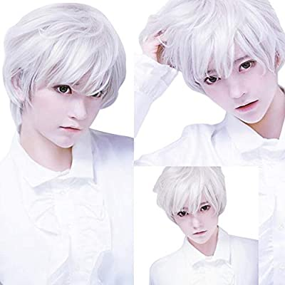 Hot Sale!OWMEOT Adult Mens Guy Male Brown Wigs Short Straight Synthetic Hair Middle Part Wig for Guy Natural Looking Cosplay Anime Wig (White)