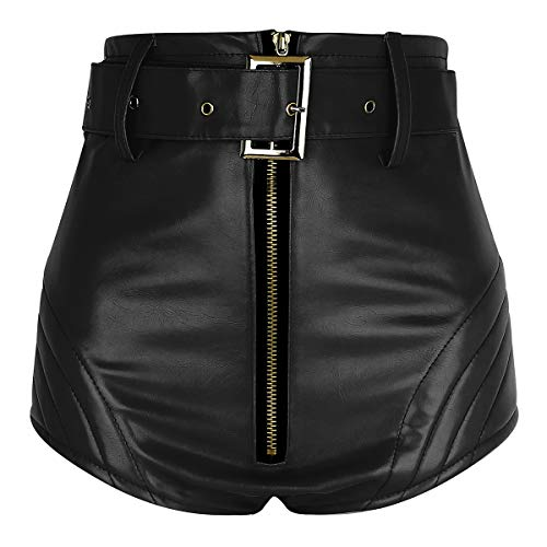 Freebily Damen Shorts Wetlook Hotpants Leder Kurz Hose Hipster Panty mit Gürtel Panty Leder Rock Ledershorts Gogo Kostüm Clubwear Schwarz Rot Schwarz Small