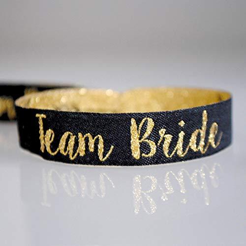 Team Bride Wristband (ENGLISH) - Team Braut Black & Gold Hen Party Armbänder ~ als kleines Geschenk für den Junggesellinnenabschied ~ JGA Bracelet