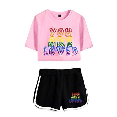 LGBT Gay Lesbian Pride Mujers Camiseta y Pantalones Cortos Set Crop Top T-Shirt + Short 2 Piezas Verano Conjunto Deportivo para Niñas