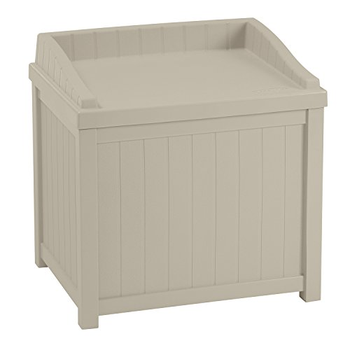 Suncast SS1000  Premium Garden Storage Seat Box Suitable For Indoor & Outdoor Storage (83 Litre Capacity – Taupe)