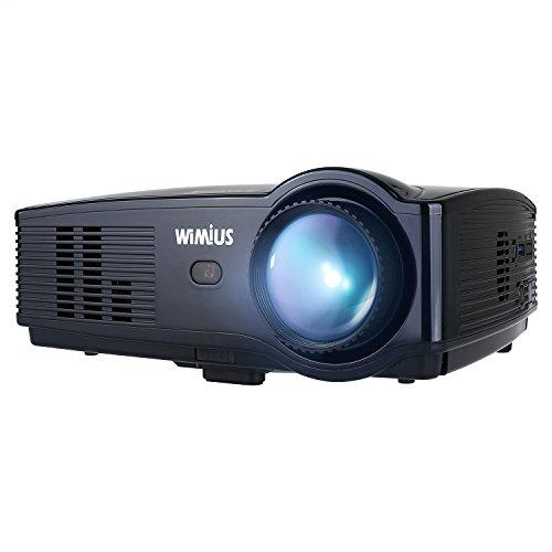 WiMiUS P20 5000 Lumens Mini proiettore portatile a LED supporta 1080P HDMI USB VGA AV, proiettore multimediale Home Cinema per videoproiettore TV portatile iPhone Smartphone Nero