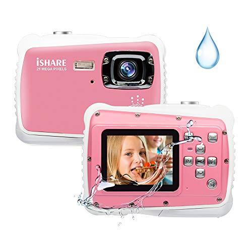 Kids Camera,21MP HD 3M Waterproof Digital Camera Kids,Kids Waterproof Camera 2.0 Inch LCD Display,8X Digital Zoom,Flash and Mic for Kids Boys Girls Gift(Pink)