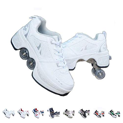 Roller Skates for Girls/Women,Shoes with Wheels for Adults,2-in-1 Parkour Shoes/Inline Roller Skating Shoes,Double-Row Quad Roller Skates Outdoor Sports Kick Rollershoes,Weiß-43