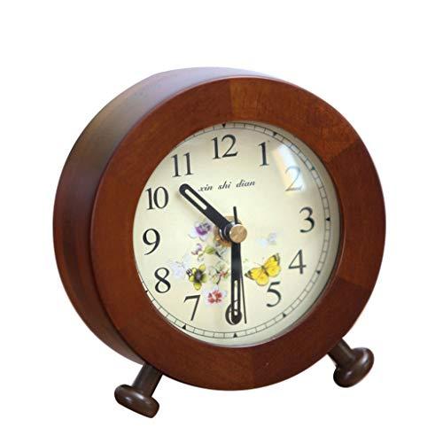 LYM $ Reloj Despertador Digital Reloj de Escritorio Simple Moderno de Madera Maciza Mute China Reloj de Mesa Mini pequeña Mesa de Noche Decoración de Mesa Reloj de Cuarzo