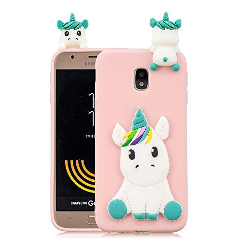 HopMore Funda para Samsung Galaxy J3 2017 Silicona Dibujos Panda Unicornio Divertidas TPU Gel Kawaii Ultrafina Slim Case Antigolpes Caso Protección Flexible Cover Design Gracioso - Rosa Unicornio