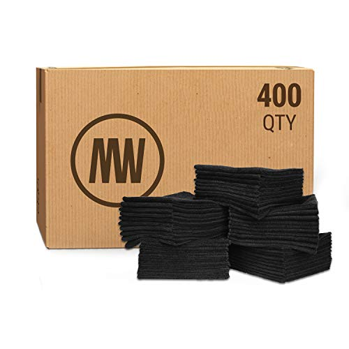 """Bulk 12"""" X 12"""" Economy All Purpose Microfiber Towels Wholesale - Case Quantity (400 Count)   No Fraying   High Density Microfiber   Chemical Free Cleaner   Long-Lasting (Black)"""