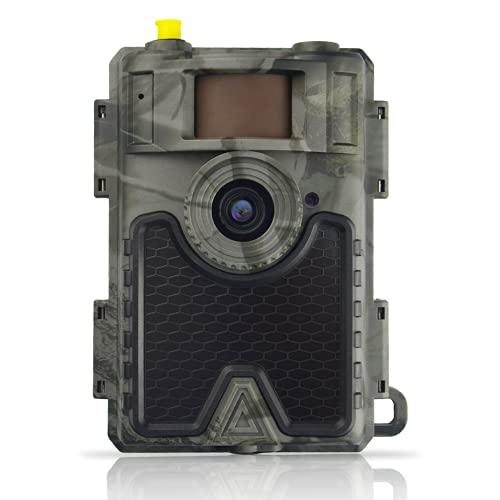 Wildkamera, Jagdkamera, Nachtsicht Bewegungsmelder 0,4s Schnelle Trigger Sensor 120 °Weitwinkel Abzugsentfernung Bis 65 Feets APP Handyübertragung 24MP 1080P Wildtierkamera mit SIM Karte IP66