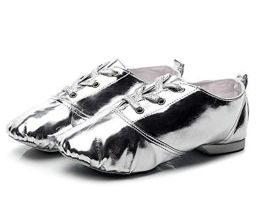 XLH Zapatos de Baile Oro y Plata Patente de Patente Zapatos de Jazz Personalizados Exterior Compresion NIÑOS Menos Y Mujeres ZAPA DE Danza Fuerte Suave,Plata,30