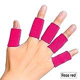 ZHUOTOP 10 Piezas de Mangas de Dedo Soporte de Pulgar férula férula para Artritis Transpirable elástico Dedo Cinta para Baloncesto, Tenis, béisbol, críquet, Voleibol, bádminton, Rosa roja