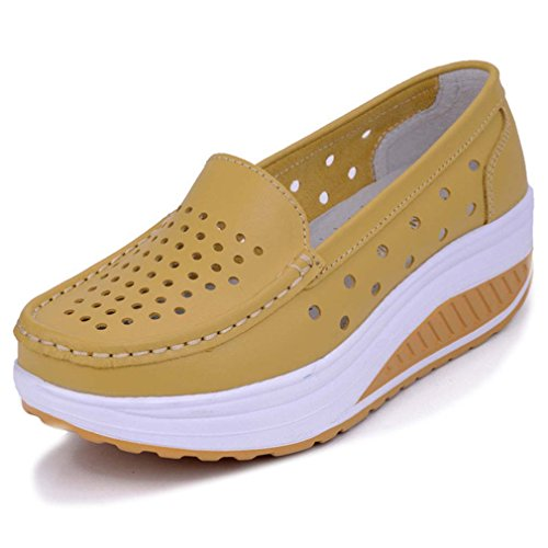 Solshine Damen Leder Atmungsaktiv Loafers Freizeitschuhe Plateau Keilabsatz gelb 37 EU / 4 UK / 6 US