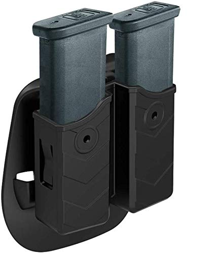Universal Double Magazine Pouch,9mm .40 Double Stack Mag. Pouch Dual Stack Mag Holder with Adjustable Paddle Fit Glock Sig sauer S&W Beretta Browning Taurus H&K Most Pistol Mags,Tan (Black)
