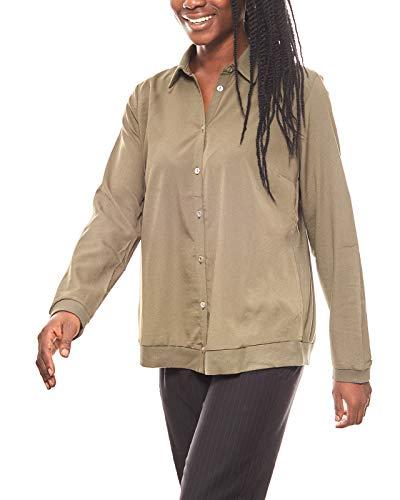 Patrizia DINI Bluse Damen Shirtjacke Regular FIt Olivgrün, Größenauswahl:40