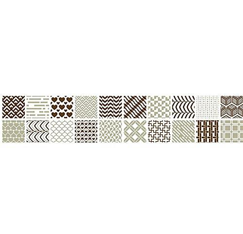 Pegatinas de azulejos con textura clásica, impermeables, autoadhesivas, retro, cuadradas, para decoración de muebles de cocina, baño, 20 cm x 100 cm x 1 unidad