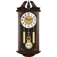 壁掛け時計ヨーロッパの電池式ミュージカルモーションミュージックチャイム目覚まし時計カチカチ音をたてない振り子装飾的なリビングルームの寝室