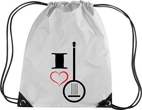 Camiseta stown Premium gymsac Música I Love Banjo, plata