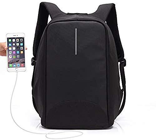 ポートを充電USB付きメンズラップトップバックパック、ビジネストラベルバックパック防水レトロなジムバッグ、ラップトップ15.6インチのセキュリティバックパック,黒
