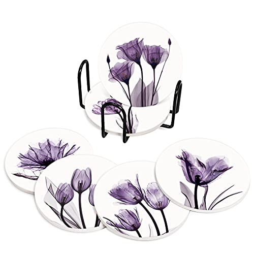 Emvency Coasters for Drinks Set of 6 ,Rose Bouquet Violet Flowers Purple Coaster,Birthday Housewarming Gift, Living Room Coffee Table Apartment Kitchen Room Bar Décor