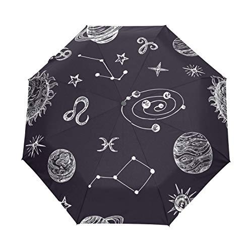 Espacio Estrellas Planetas Luna Paraguas Plegables niña niño Automático Resistencia Viento Paraguas Impermeable de Viaje