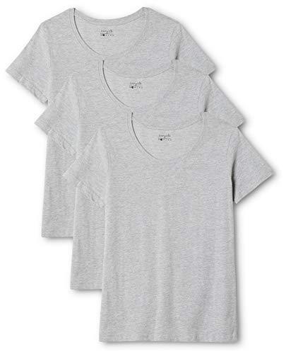 Berydale Damen T-Shirt Mit Rundhalsausschnitt, 3er Pack, Grau (Grey), Small