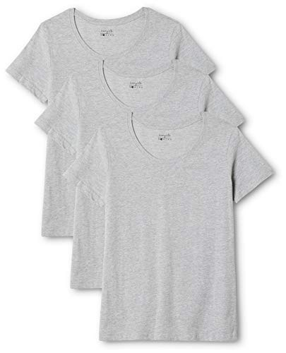 Berydale Camiseta de manga corta de mujer, con cuello redondo, pack de 3, Gris, S
