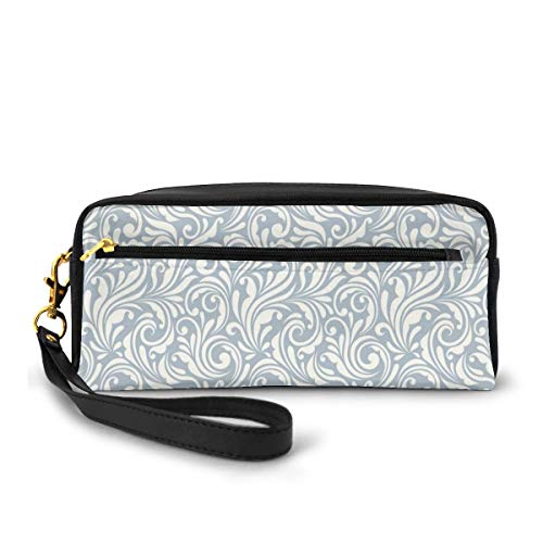Pencil Case Pen Bag Pouch Stationary,Abstract Flourishing Nature Vintage Monochrome Floral Arrangement Leaves Swirl,Small Makeup Bag Coin Purse