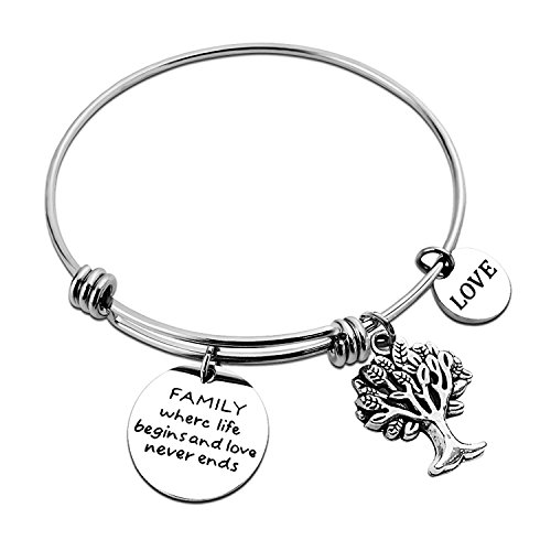 ALoveSoul Bride Gifts Family Where Life Begins and Love Never Ends Inscriptions Bracelet Family Tree Charm Bangle Bracelets for Women Gift for Wife